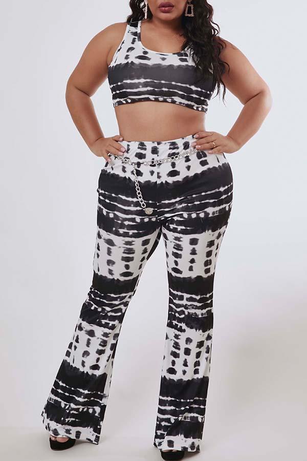 Lovely Trendy Print Black Plus Size Two-piece Pants Set