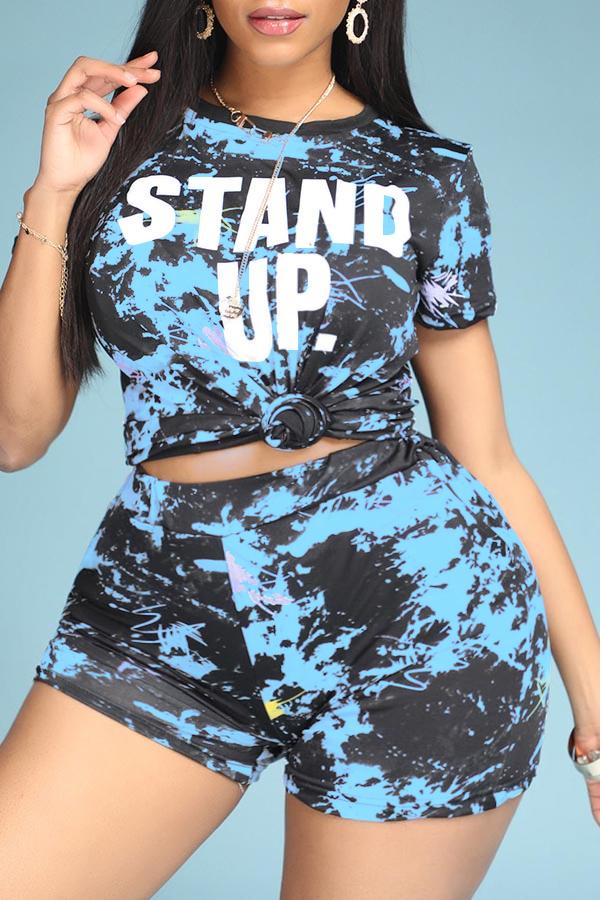 Lovely Leisure Print Blue Plus Size Two-piece Shorts Set