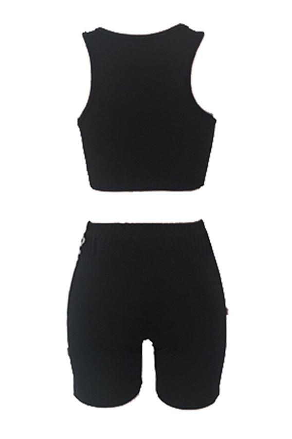 Lovely TSportswear Letter Print Black Two-piece Shorts Set