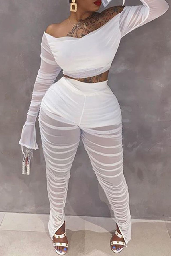 Lovely Casual Fold Design White Two-piece Pants Set