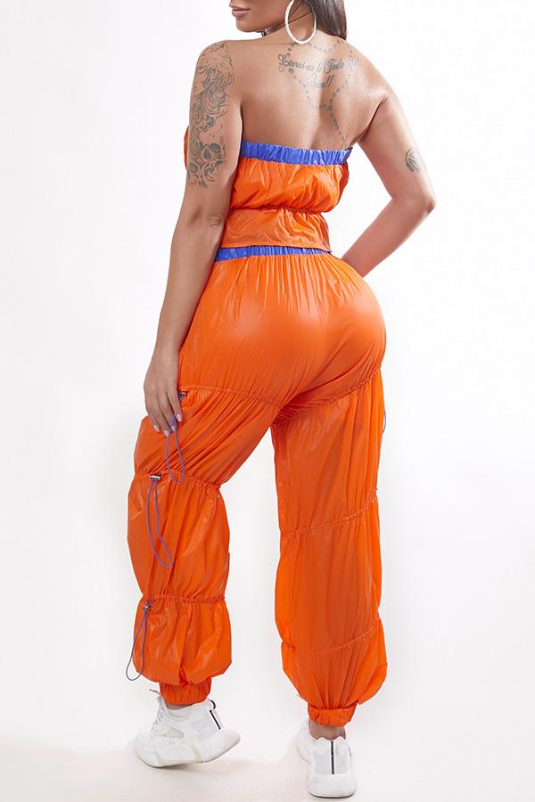 Lovely Sportswear Fold Design Orange Two-piece Pants Set