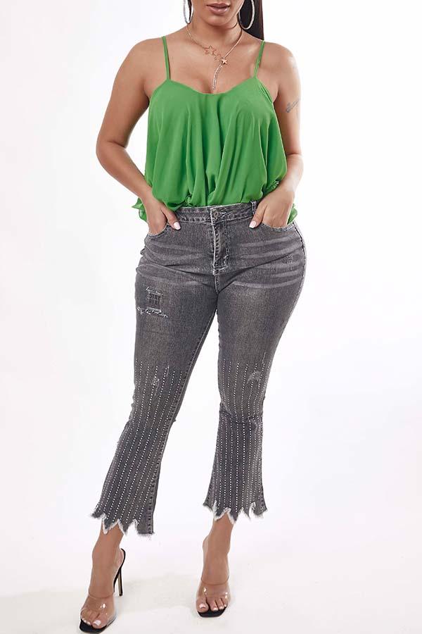 Lovely Trendy Asymmetrical Grey Jeans