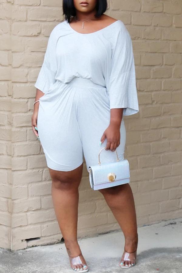 Lovely Leisure Fold Design White Plus Size Two-piece Shorts Set