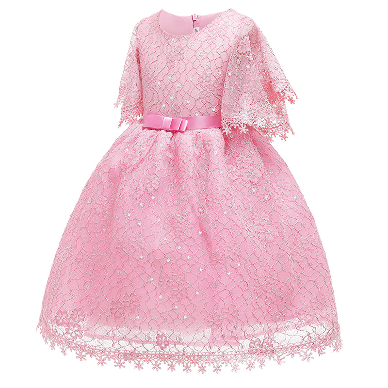 Lovely Trendy Lace Hem Pink Girl Mid Calf Dress