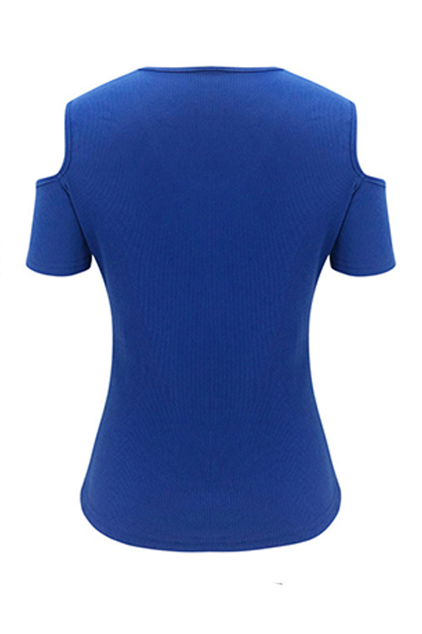 Lovely Trendy Hollow-out Blue T-shirt