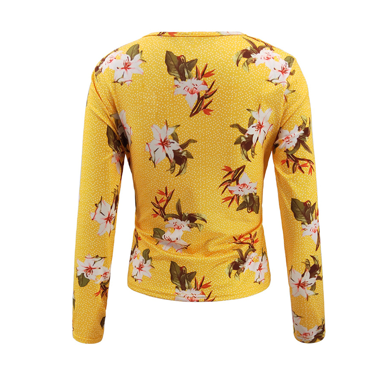 Lovely Trendy V Neck Print Yellow Blouse