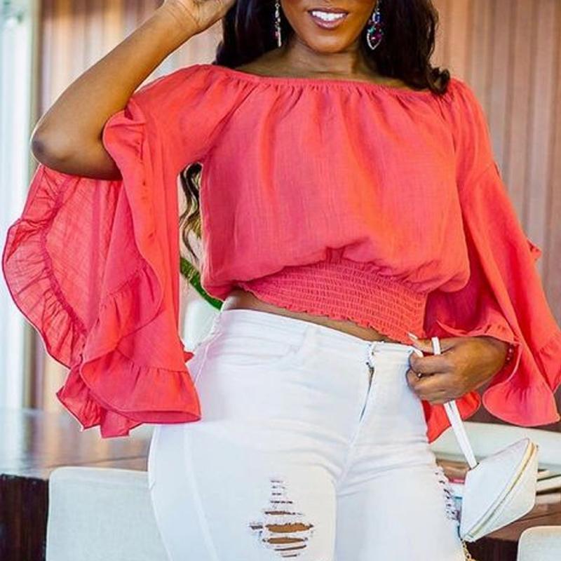 Lovely Trendy Flounce Design Red Blouse