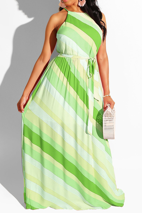 Lovely Bohemian Striped Green Maxi Dress