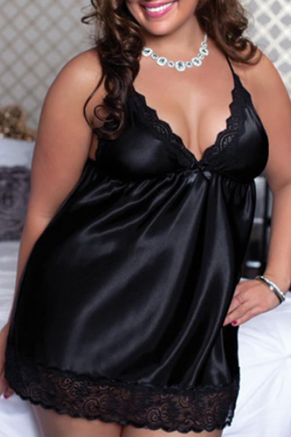 Lovely Sexy Lace Patchwork Black Plus Size Babydolls