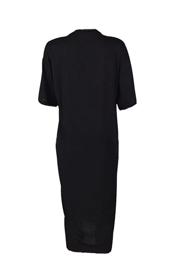 Lovely Casual Letter Print Black Mid Calf Dress