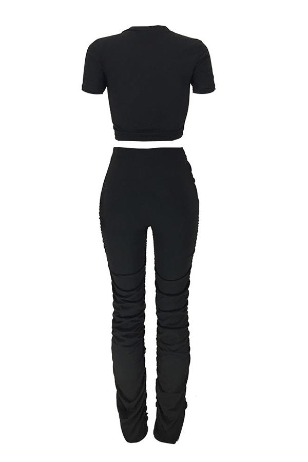 LW Fold Design Black Pants Set