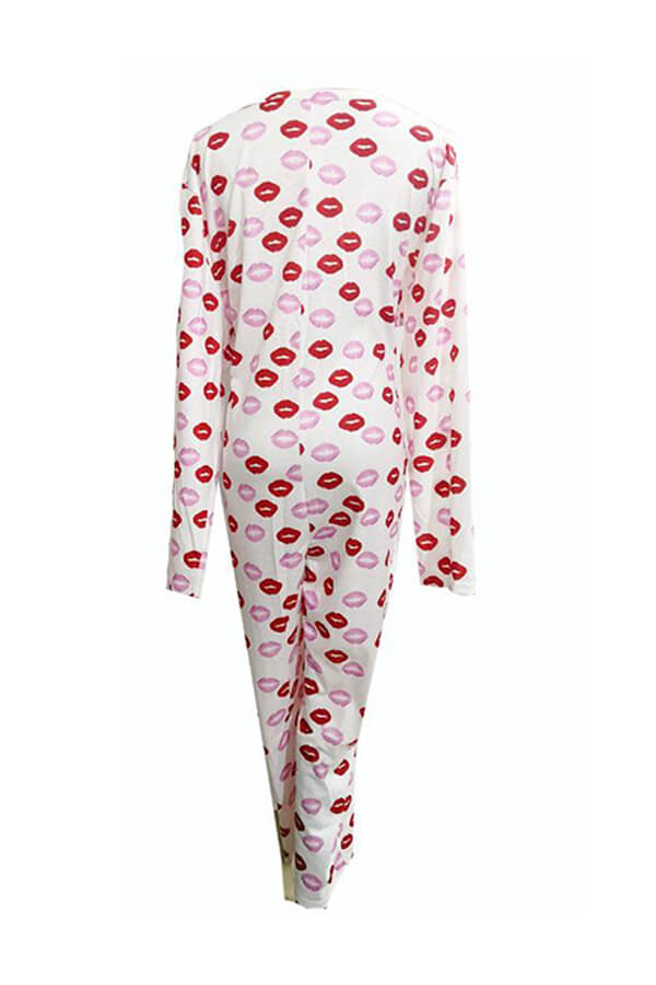 Lovely Casual Lip Print White Plus Size One-piece Jumpsuit