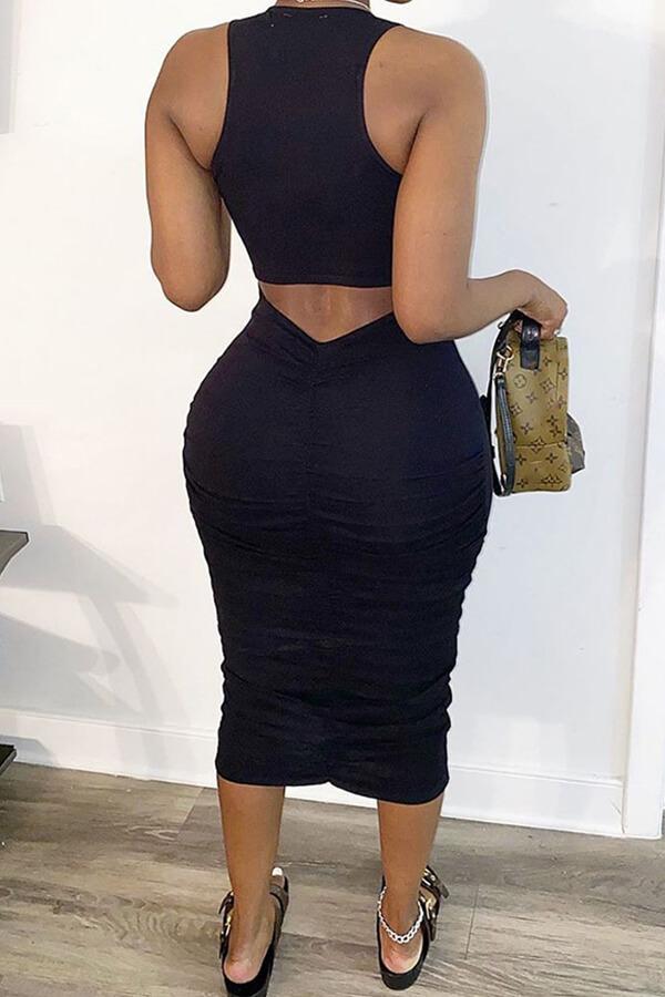 Lovely Casual Basic Skinny Black Mid Calf Dress