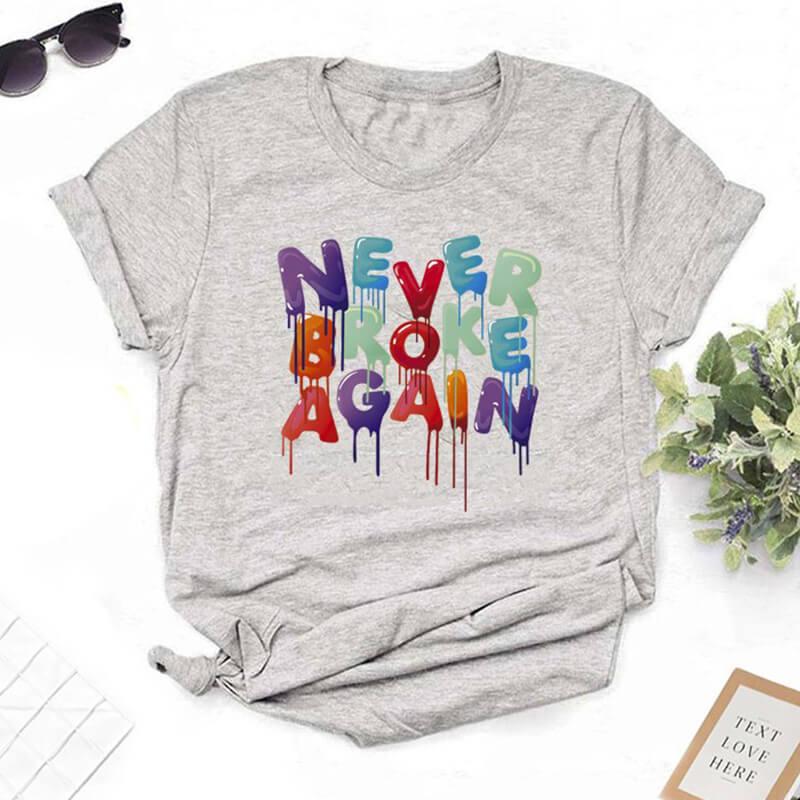 Lovely Leisure O Neck Letter Print Grey T-shirt