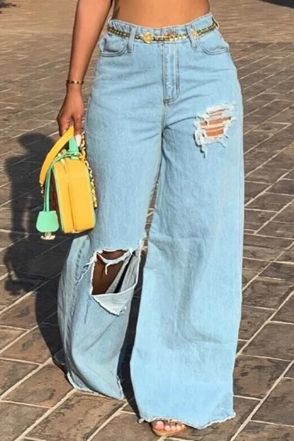 LW Trendy Hollow-out Baby Blue Jeans