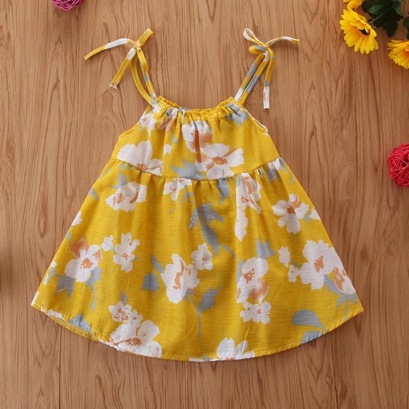 Lovely Sweet Floral Print Yellow Girl Knee Length Dress