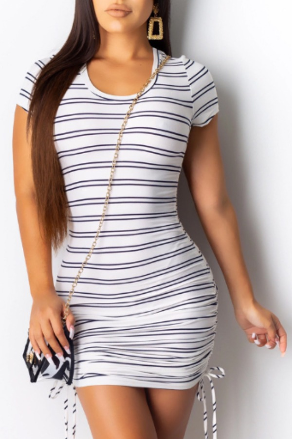 Lovely Leisure Striped White Mini Dress