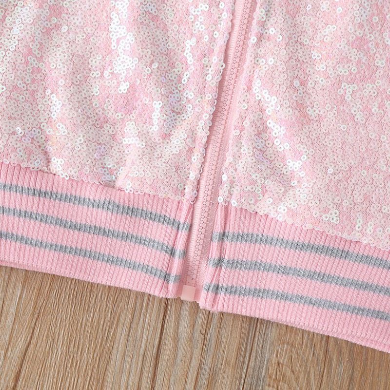 Lovely Casual Zipper Design Pink Girl Two-piece Shorts Set