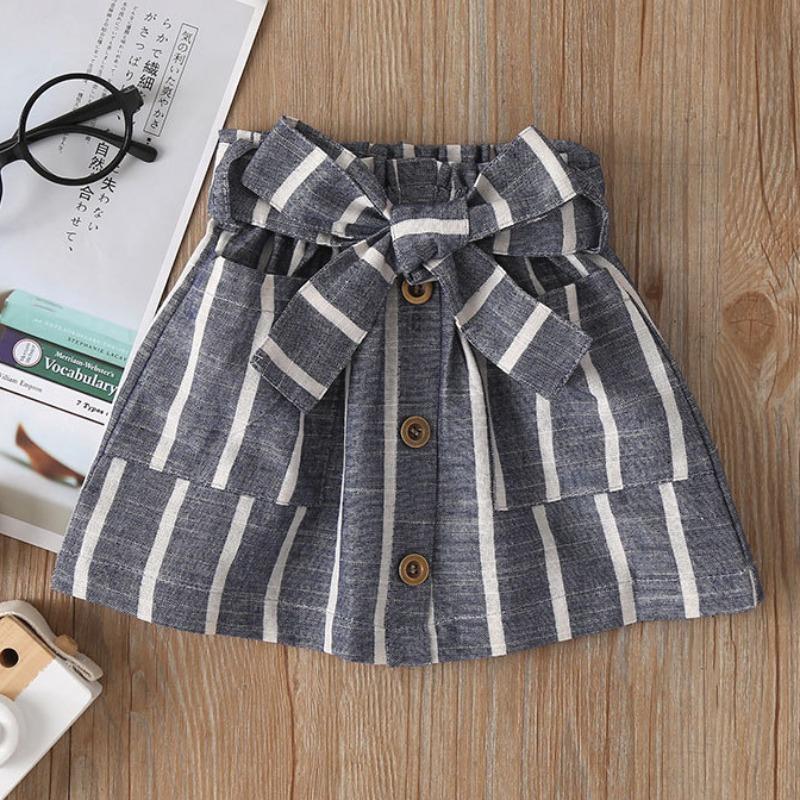 Lovely Sweet Striped Dark Grey Girl Two-piece Skirt Set