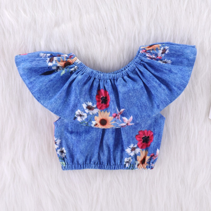 Lovely Stylish Print Blue Girl Two-piece Pants Set
