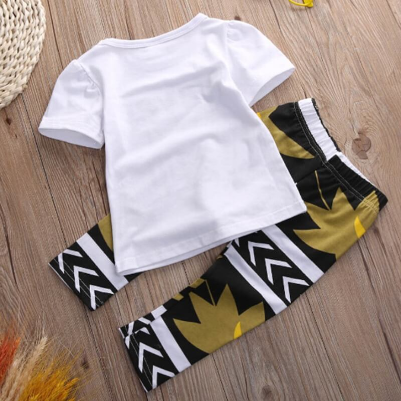 Lovely Casual Letter Print White Girl Two-piece Pa