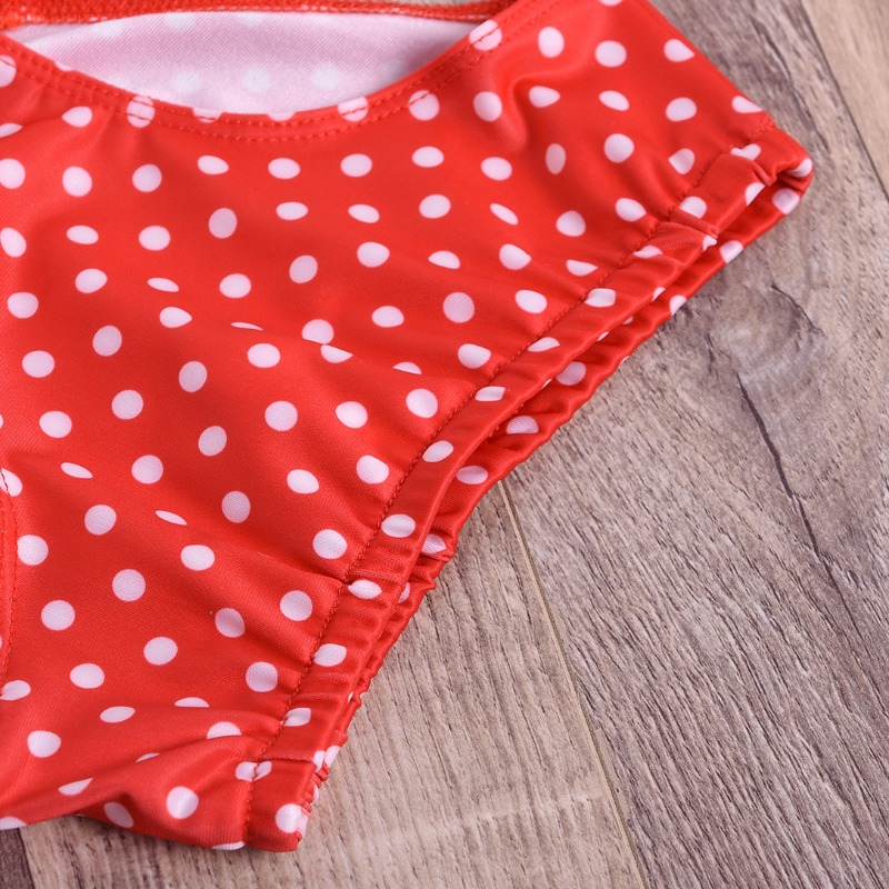 Lovely Dot Print Red Girl Two-piece Swimsuit