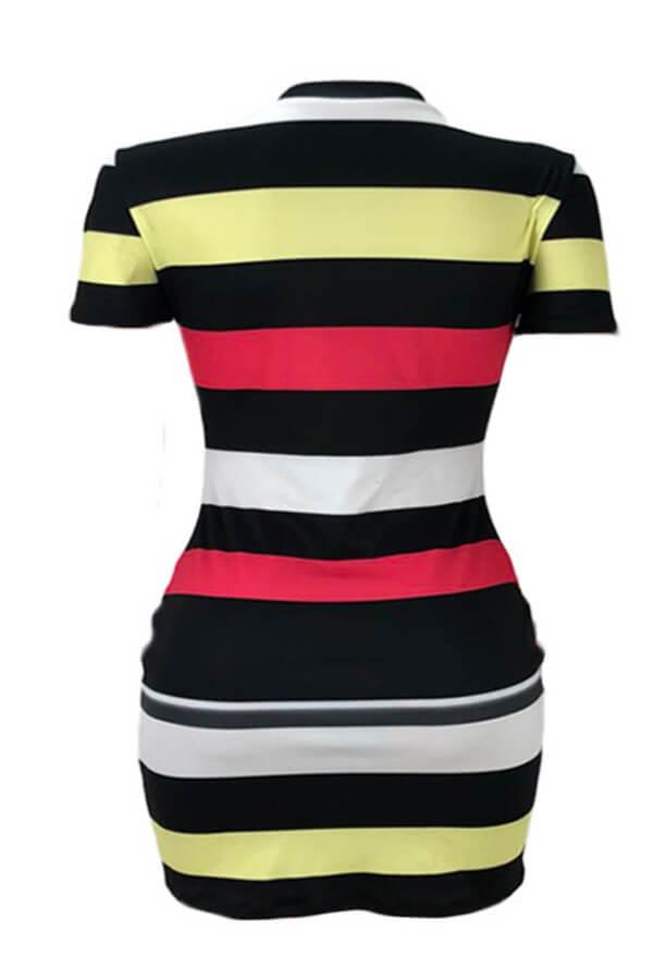 Lovely Casual O Neck Striped Multicolor Mini Dress