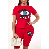 Lovely Casual O Neck Eye Print Red Two-piece Short