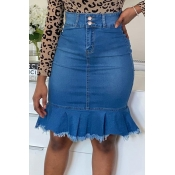 Lovely Sweet Fold Design Blue Skirt