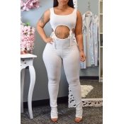Lovely Sexy Lace-up Whtie One-piece Jumpsuit