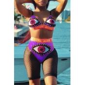 Lovely Eye Print Purple Two-piece Swimsuit