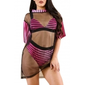 Lovely Striped Rose Red Two-piece Swimsuit(With Co