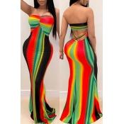 Lovely Trendy Dew Shoulder Striped Multicolor Maxi