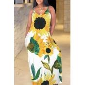 Lovely Bohemian V Neck Sunflower Print Yellow Maxi