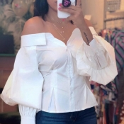 Lovely Trendy Dew Shoulder Buttons Design White Blouse