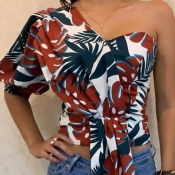 Lovely Trendy One Shoulder Print Multicolor Blouse