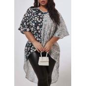 Lovely Trendy V Neck Patchwork Black Plus Size Blo