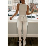 Lovely Trendy Basic Skinny White One-piece Jumpsui