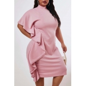 Lovely Casual Flounce Design Pink Knee Length Plus