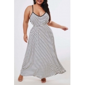 Lovely Casual Striped Black Ankle Length Plus Size