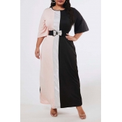 Lovely Casual O Neck Patchwork Black Ankle Length