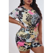 Lovely Casual Print Multicolor Plus Size Two-piece