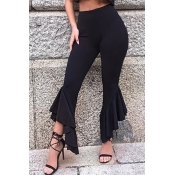 Lovely Trendy Flounce Design Black Pants