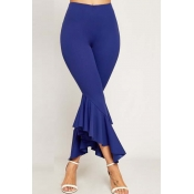 Lovely Trendy Flounce Design Blue Pants