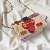 Lovely Trendy Chain Strap Red Crossbody Bag
