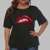 Lovely Casual O Neck Lip Print Black Plus Size T-s