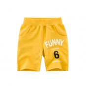 Lovely Trendy Letter Golden Yellow Boy Shorts