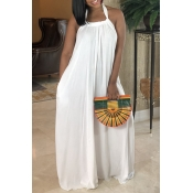 Lovely Casual Loose White Maxi Dress
