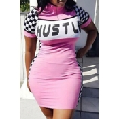 Lovely Casual Letter Print Pink Mini Dress