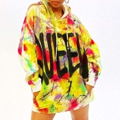 Lovely Casual Hooded Collar Print Multicolor Mini